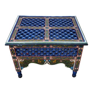 Moroccan Rectangular Wooden Side Table, 12lm24 For Sale