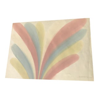 Original 80s Pastel Abstract Watercolor Painting