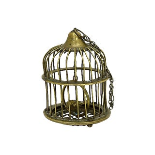 Vintage French Brass Birdcage Ornament For Sale