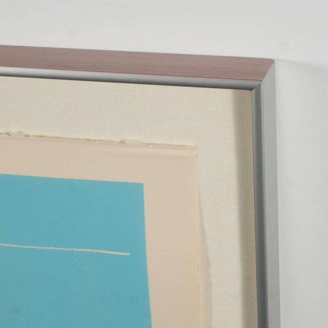 Signed Lithograph by Robert Motherwell Untitled Abstract Pale Blue on White - Image 2 of 10