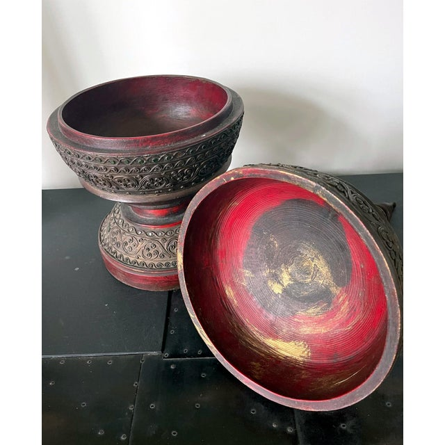Antique Lacquered Wood Offering Vessel, Thailand For Sale - Image 9 of 12