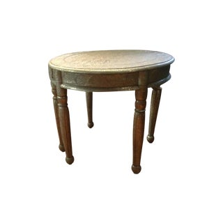 Repousse Nickel Demi-Lune Tables - A Pair For Sale