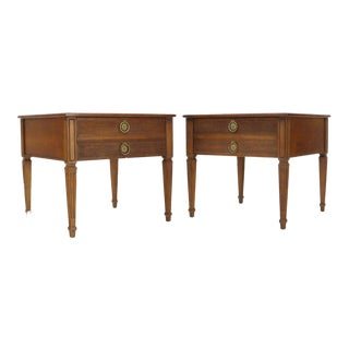 Pair of Square Fruitwood End Lamp Tables With Brass Pulls by Henredon For Sale