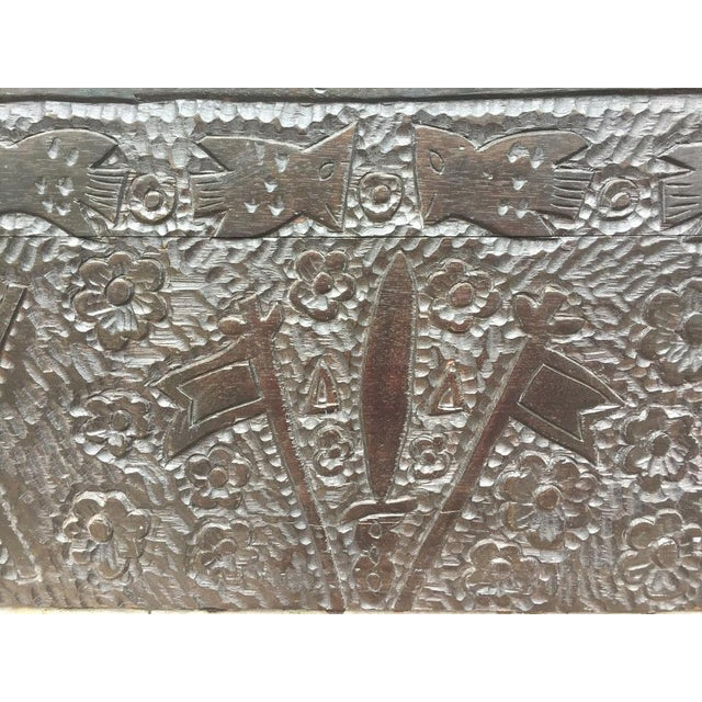 Masonic Iconography Hand Carved Chest For Sale - Image 6 of 10