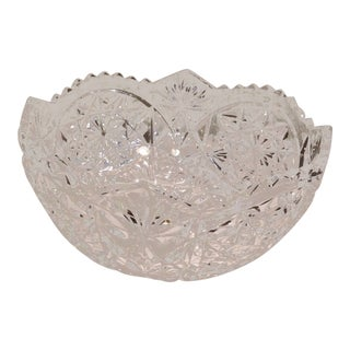 Vintage Cut Lead Crystal Bowl For Sale