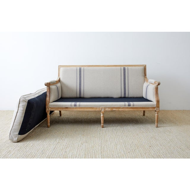 Wood French Louis XVI Style Bleached Oak Settee Loveseat For Sale - Image 7 of 13