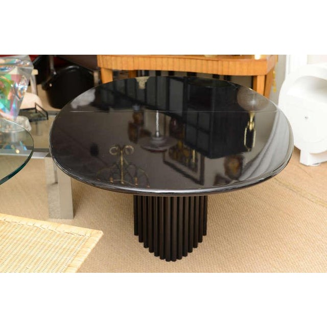 Signed Rothlisberger Ebonized Oval Sculptural And Fluted Dining Table For Sale - Image 9 of 11