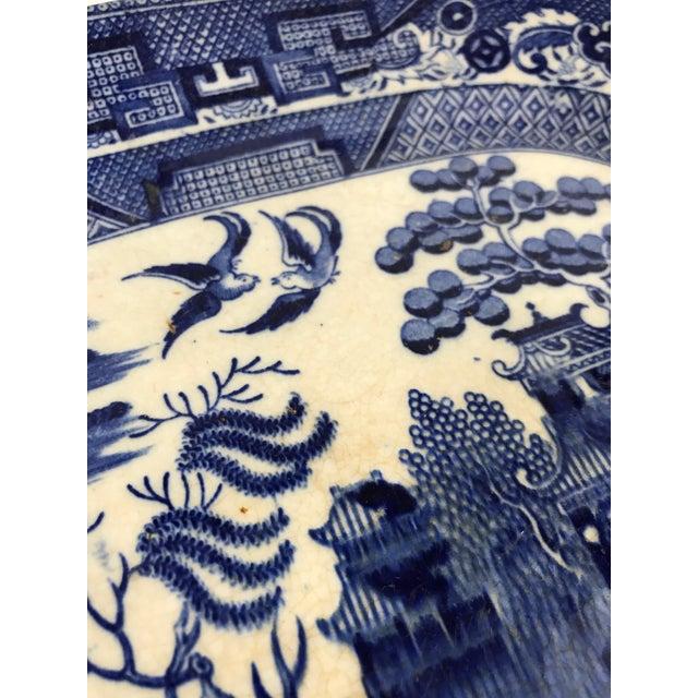 Blue Antique Blue Willow Porcelain Platter For Sale - Image 8 of 10