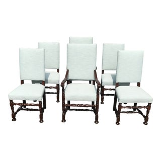 White Upholstered Baroque Walnut Dining Chairs - Set of 6 For Sale