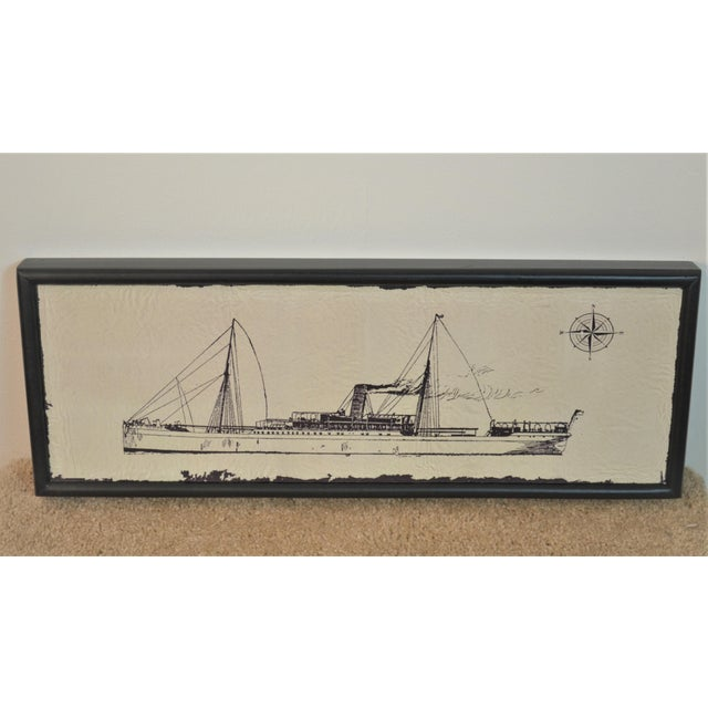Picture on canvas wood frame Steam Ship with Chimney beautiful edition in office or above fireplace.