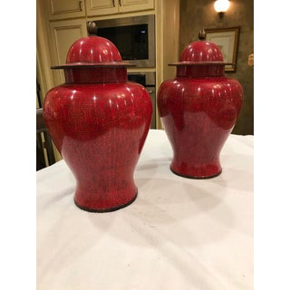 Antique Chinese Enamel Brass Ginger Jars With Lids in Deep Raspberry/Imperial Red - a Pair Preview