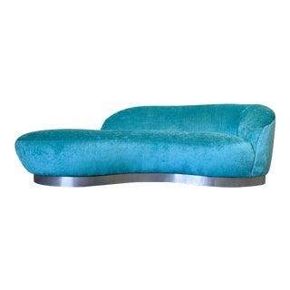 Mid Century Modern Turquoise Vladimir Kagan Attributed Serpentine Sofa For Sale