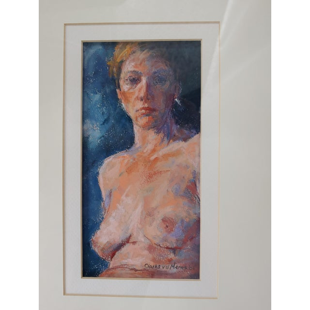 By artist Charles Van Der Merwe (1938-1996) from South Africa. Untitled female nude. Framed watercolor on canvas with...