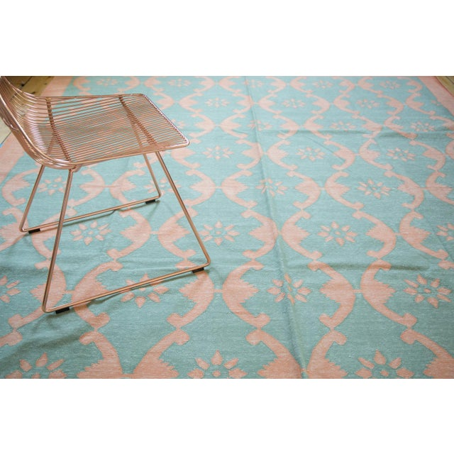 "New Blue Floral Dhurrie Carpet - 8'1"" X 9'9"" - Image 2 of 7"