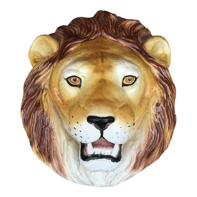 Italian Mid-Century Ceramic Lion Head Wall Sculpture For Sale