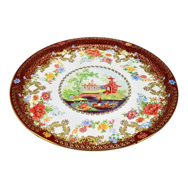 Vintage Chinoiserie Tole Floral Red and Gold Circular Tray For Sale