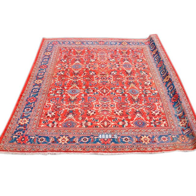 Islamic Red Mahal Rug - 10′7″ × 11′11″ For Sale - Image 3 of 3