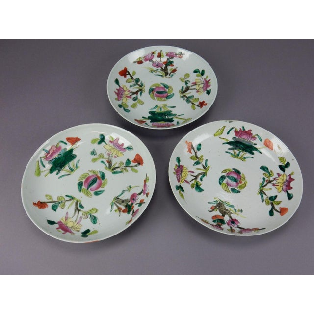 Antique Chinese Qing Dynasty Plates - Set of 3 - Image 6 of 11
