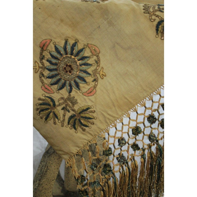 Early 19th Century Antique Silk Scarf Metallic Embroidered Ottoman Runner Textile For Sale - Image 5 of 9