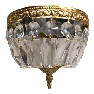 Crystal Basket Drop Mini Flush Mount With Gold Finish For Sale