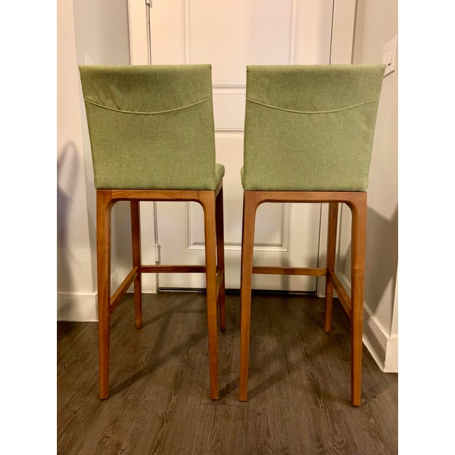 Vintage Mid-Century Modern Wood Bar Stools- A Pair For Sale - Image 4 of 5