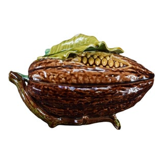 Antique French Majolica Coco Bean Box Chocolate Candy Dish For Sale