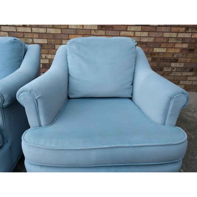 Vintage Blue Velvet Rolled Arm Club Chairs by Sam Moore Furniture - A Pair - Image 7 of 11