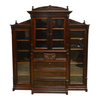 Antique Victorian Walnut Bookcase W. Desk For Sale