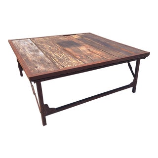 Recycled Wood and Iron Square Folding Coffee Table For Sale
