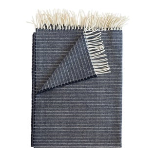 Merino Lambswool Patterned Throw in Stripe Navy For Sale