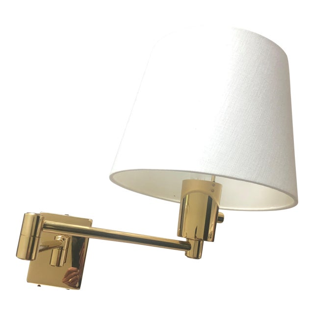 Hinson Brass Wall Lamp with Shade For Sale