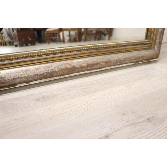 19th Century Italian Golden and Silver Wood Antique Wall Mirror For Sale - Image 12 of 13
