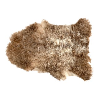 Natural Curly Spanish Sheepskin Throw Hide Rug For Sale