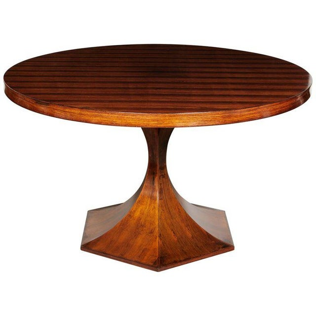 Italian Round Pedestal Dining Table of Palisander Wood For Sale - Image 12 of 12