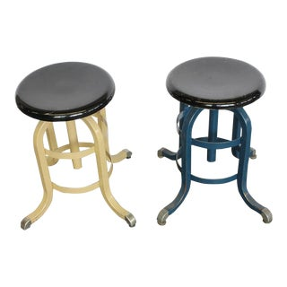 1930s Vintage American Medical Adjustable Stool- A Pair For Sale