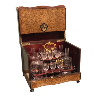 19th Century Antique Tantalus Inlaid Burled Wood Cabinet With Decanters and Glasses - Set of 14 For Sale