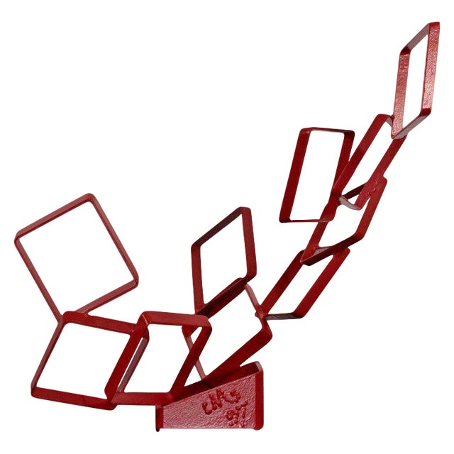 1990s Contemporary Red Metal Abstract Table Sculpture Signed Cynthia McKean For Sale
