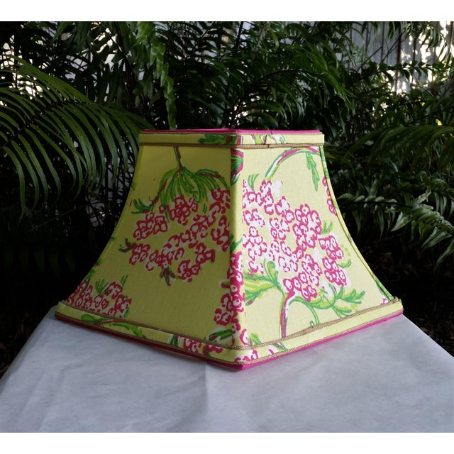 Lilly Pulitzer Fabric Lampshade Hot Pink Green Tropical Floral For Sale In West Palm - Image 6 of 10