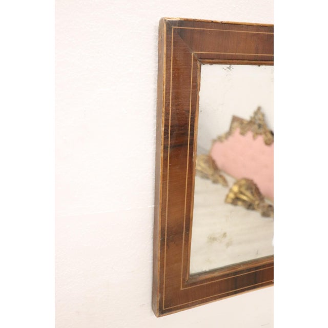 Italian 19th Century Italian Charles X Inlay Walnut Wall Mirror For Sale - Image 3 of 9