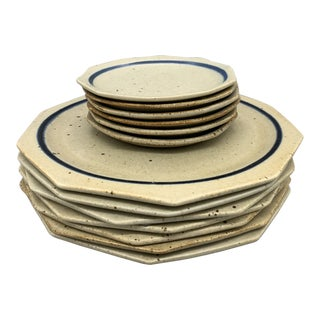 Set of 15 Vintage Mexican Stoneware Octagonal Dinner and Bread Plates For Sale