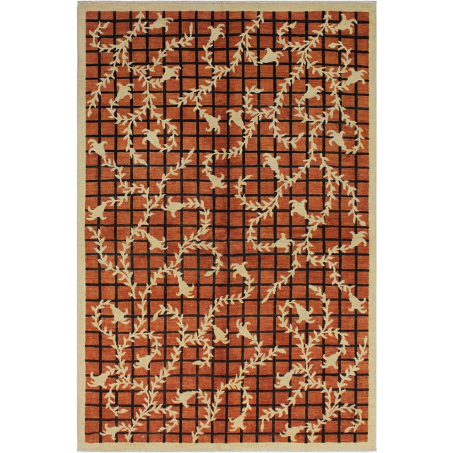 Orange Contemporary Ziegler Angle Drk. Orange Wool Rug - 5′11″ × 8′8″ For Sale - Image 8 of 9