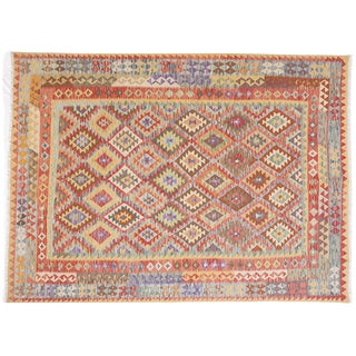 1990s Contemporary Patterned Brown Wool Kilim For Sale