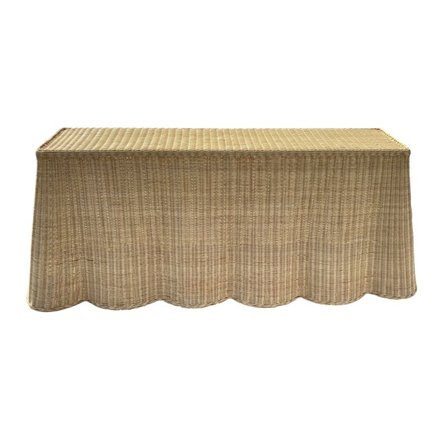 "Natural Rattan Console Table 79"" Long For Sale"