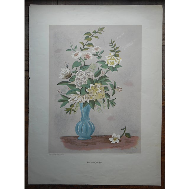Farmhouse Vintage Silkscreen Blue Vase With Bouquet For Sale - Image 3 of 5