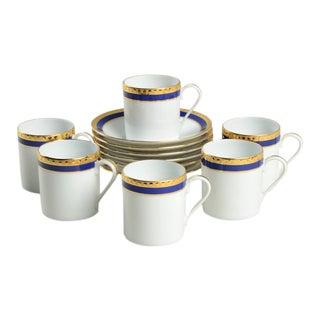 Tiffany Blue Band Demitasse Cup & Saucer Set/6 For Sale