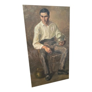 Vintage French Academic Style Oil Painting on Canvas of a Young Man For Sale