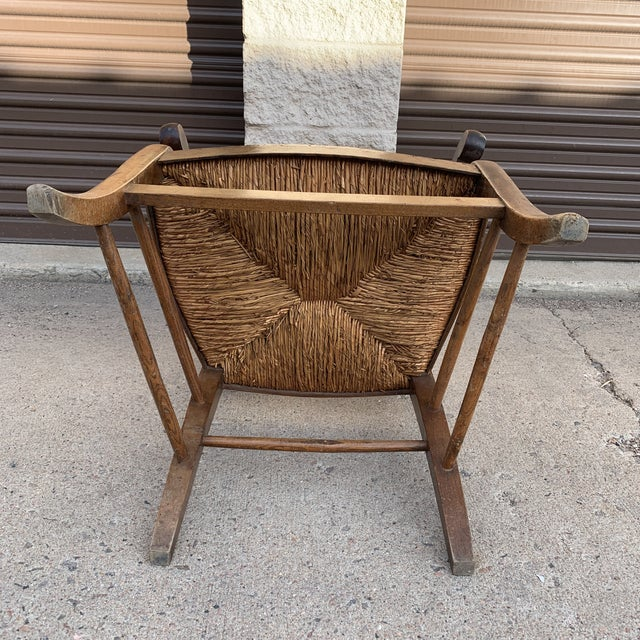 Mid 19th Century French Walnut Rush Seat Armchair For Sale - Image 11 of 13
