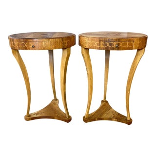 Biedermeier Style Italian Marquetry Side Tables, 1940s - a Pair For Sale