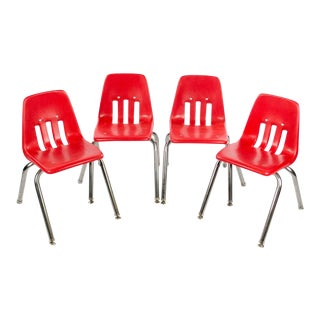 Virco Mid-Century Red Stacking School Chairs - Set of 4