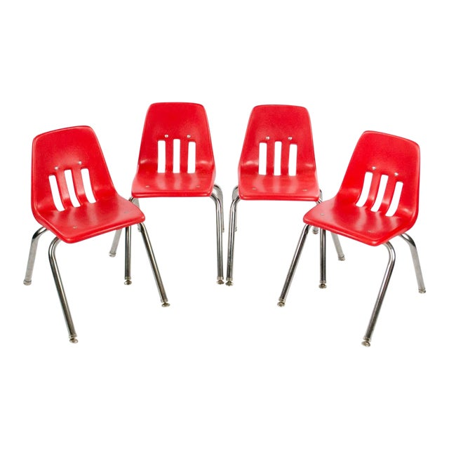 Virco Mid-Century Red Stacking School Chairs - Set of 4 For Sale